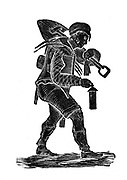 The coal miner carrying his tools and safety his lamp. Wood engraving 1890