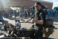 """Andreas """"Andy"""" Kaindl of Southern Germany arrives at the finish on his 1924 Henderson Deluxe during Stage 10 (278 miles) of the Motorcycle Cannonball Cross-Country Endurance Run, which on this day ran from Golden to Grand Junction, CO., USA. Monday, September 15, 2014.  Photography ©2014 Michael Lichter."""