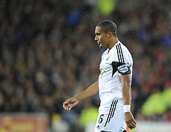 Swansea City's Ashley Williams cuts a dejected figure - Photo mandatory by-line: Joe Meredith/JMP - Tel: Mobile: 07966 386802 03/11/2013 - SPORT - FOOTBALL - The Cardiff City Stadium - Cardiff - Cardiff City v Swansea City - Barclays Premier League