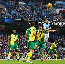 Nicolas Otamendi of Manchester City wins a header - Mandatory byline: Matt McNulty/JMP - 07966 386802 - 31/10/2015 - FOOTBALL - City of Manchester Stadium - Manchester, England - Manchester City v Norwich City - Barclays Premier League