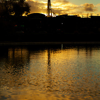 The shimmering reflection of the Needle at dusk as viewed from the South Lake district