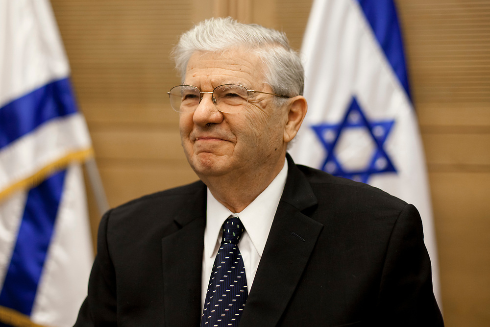 Retired President of the Supreme Court of Israel Prof. Aharon Barak attends a session of the Constitution, Law and Justice Committee at the Knesset, Israel's parliament in Jerusalem, on November 8, 2011.