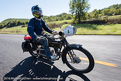 Tanner Whitton of New York on Mark Hill's 4-cylinder 1915 Henderson class-2 motorcycle during the Motorcycle Cannonball Race of the Century. Stage-3 from Morgantown, WV to Chillicothe, OH. USA. Monday September 12, 2016. Photography ©2016 Michael Lichter.