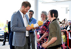 Britain's Prince Harry, Duke of Sussex, receives a teddy bear from a former patient Daisy Wingrove as he visits Oxford Children's Hospital in Oxford, Britain, May 14, 2019. 14 May 2019 Pictured: Britain's Prince Harry, Duke of Sussex, receives a teddy bear from a former patient Daisy Wingrove as he visits Oxford Children's Hospital in Oxford, Britain, May 14, 2019. REF - MD EXPRESS SYNDICATION +44 (0)20 8612 7884/7903/7661 +44 (0)20 7098 2764 NO ONLINE MOBILE OR DIGITAL USE WITHOUT PRIOR PERMISSION *** Local Caption *** No digital use of this image unless agreed with Express Syndication or Licensed agent of Express prior to usage. Non cleared usage will be charged at treble space rates NO UK SALES FOR 28 DAYS. NO GETTY SALES. Photo credit: EXPRESS SYNDICATION / MEGA TheMegaAgency.com +1 888 505 6342