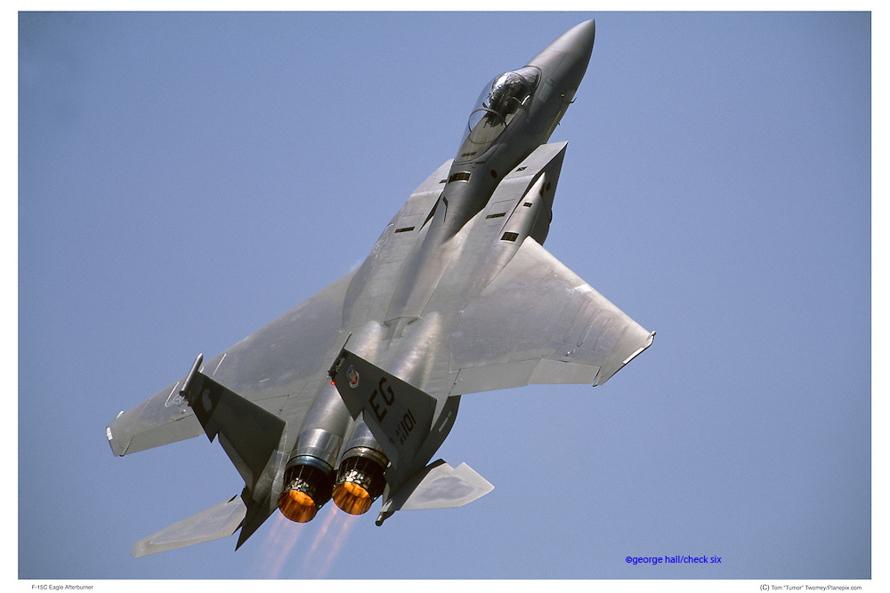 F-15C in vertical climb with afterburners