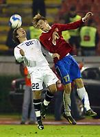 Fotball , 15. november 2006 , Serbia - Norge , <br /> <br /> Kristofer Hæstad of Norway against Milos Krasic of Serbia during friendly match in Belgrade on November 15th 2006