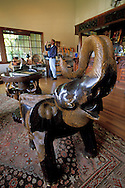 Antique wooden carving of African elephant, Handley Cellars, near Navarro, Mendocino County, California