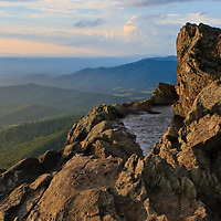 Just before sunset at the Little Stony Man cliffs on a windy evening, Shenandoah National Park, Virginia.