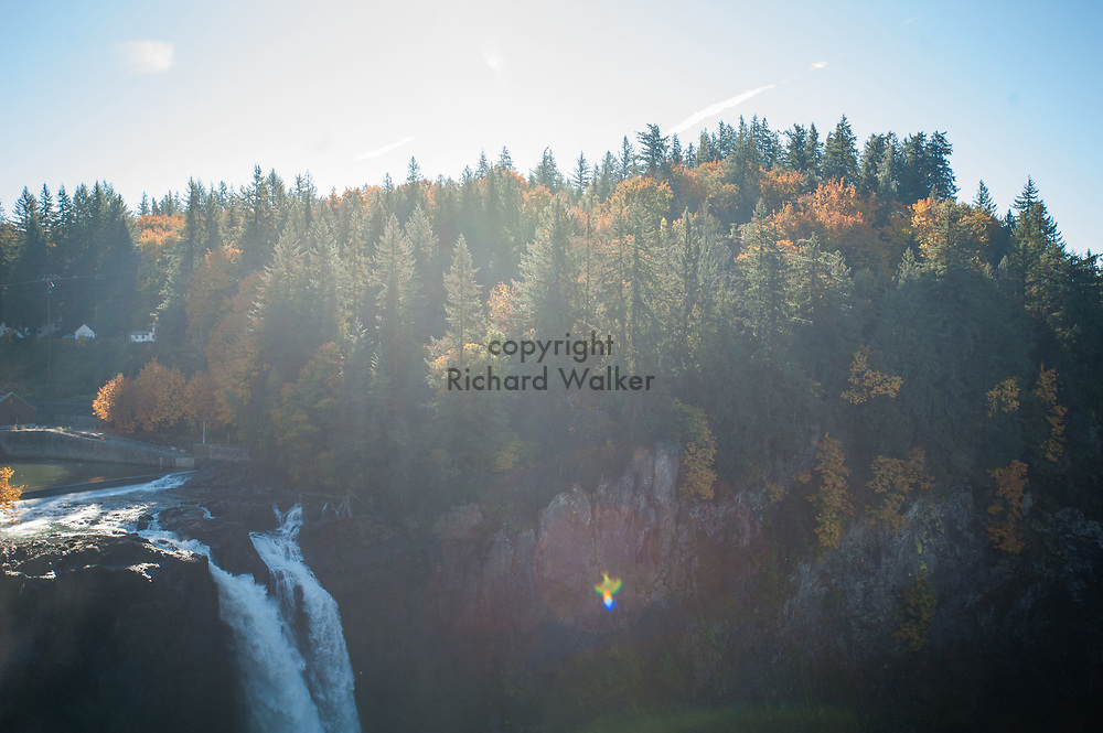 2017 OCTOBER 27 - Autumn forest scene over Snoqualmie Falls, WA, USA. By Richard Walker