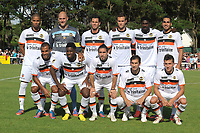 FOOTBALL - FRIENDLY GAMES 2012/2013 - STADE RENNAIS v FC LORIENT - 21/07/2011 - PHOTO PASCAL ALLEE / DPPI - BACK ROW (LEFT TO RIGHT) : KEVIN MONNET PAQUET, FABIEN AUDARD, JEREMY ALIADIERE, GREGORY BOURILLON, BRUNO ECUELE MANGA AND WESLEY LAUTOA.                                            FRONT ROW (LEFT TO RIGHT) : ALAIXYS ROMAO, ARNOLD M'VUEMBA, LUCAS MAREQUE, PEDRINHO AND MATHIAS AUTRET              FC LORIENT TEAM