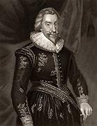 Walter Aston, Baron Aston of Forfar (1584-1639) English courtier and diplomat. Ambassador to Spain 1620-1625 and 1635-1638. Patron of poet the John Dryden.  Engraving.