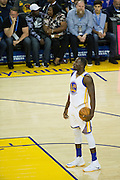 Golden State Warriors forward Draymond Green (23) takes a breath before a free throw attempt against the Portland Trail Blazers at Oracle Arena in Oakland, Calif., on October 21, 2016. (Stan Olszewski/Special to S.F. Examiner)