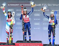 26.10.2019, Keelberloch Rennstrecke, Altenmark, AUT, FIS Weltcup Ski Alpin, Alpine Kombination, Damen, Siegerehrung, im Bild v.l. Wendy Holdener (SUI, 2. Platz), Federica Brignone (ITA, 1. Platz), Marta Bassino (ITA, 3. Platz) // f.l. second placed Wendy Holdener of Switzerland, race winner Federica Brignone of Italy, third place Marta Bassino of Italy during the winner ceremony of women's Alpine combined for the FIS ski alpine world cup at the Keelberloch Rennstrecke in Altenmark, Austria on 2019/10/26. EXPA Pictures © 2020, PhotoCredit: EXPA/ Erich Spiess