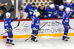 Ken Ograjensek of Slovenia, Anze Kuralt of Slovenia and Sabahudin Kovacevic of Slovenia celebrate during Ice Hockey match between National Teams of Italy and Slovenia in Round #5 of 2018 IIHF Ice Hockey World Championship Division I Group A, on April 28, 2018 in Arena Laszla Pappa, Budapest, Hungary. Photo by David Balogh / Sportida