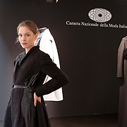 Milano, March 2nd, 2015. A model in the box presenting new fashion designers for Camera Nazionale della Moda Italiana.