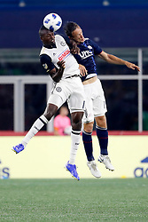 August 11, 2018 - Foxborough, MA, U.S. - FOXBOROUGH, MA - AUGUST 11: Philadelphia Union forward Cory Burke (19) beats New England Revolution defender Antonio Mlinar Delamea (19) in the air during an MLS match between the New England Revolution and the Philadelphia Union on August 11, 2018, at Gillette Stadium in Foxborough, Massachusetts. The Union defeated the Revolution 3-2. (Photo by Fred Kfoury III/Icon Sportswire) (Credit Image: © Fred Kfoury Iii/Icon SMI via ZUMA Press)