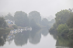 Licensed to London News Pictures. 14/09/2021. London, UK. A misty River Thames in Richmond south-west London as weather forecasters issue yellow weather warnings for heavy rain and thunderstorms for London and the South East today with the potential of flooding to homes and businesses and disruption to travel networks. However, sunny warm weather is expected from tomorrow with highs of 24c. Photo credit: Alex Lentati/LNP