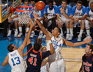 Sophomore center Drew Gordon goes up for a rebound early in the first half of the UCLA Bruins' 71-52 win over the Pepperdine Waves at Pauley Pavilion in Los Angeles on Monday, Nov. 23, 2009.