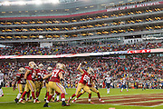 San Francisco 49ers tight end Vance McDonald (89) spikes the ball after scoring a touchdown against the New England Patriots at Levi's Stadium in Santa Clara, Calif., on November 20, 2016. (Stan Olszewski/Special to S.F. Examiner)