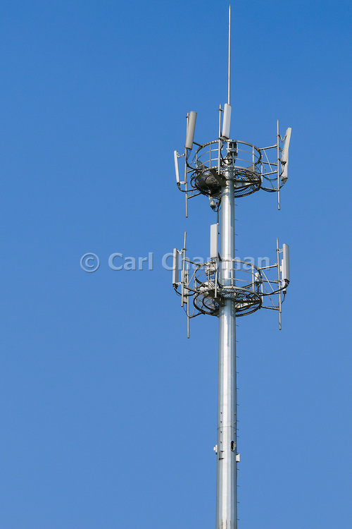 GSM and CDMA cellsite base station antenna array for the cellular telephone system on a pole tower - Nanjing, China <br /> <br /> Editions:- Open Edition Print / Stock Image