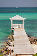 Dock and gazebo with the ocean in Nassau, Bahamas.