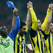 Fenerbahce's players (Left to Right) Issiar DIA, Bekir IRTEGUN, Diego Alfredo Lugano MORENO, Mehmet TOPUZ celebrate victory during their Turkish superleague soccer derby match Galatasaray between Fenerbahce at the Turk Telekom Arena in Istanbul Turkey on Friday, 18 March 2011. Photo by TURKPIX