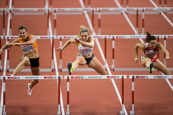 Nadine Visser of Netherlands, Cindy Roleder of Germany and Alina Talay of Belarus compete in the 60m Hurdles Women Final on day one of the 2017 European Athletics Indoor Championships at the Kombank Arena on March 3, 2017 in Belgrade, Serbia. Photo by Vid Ponikvar / Sportida