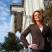 Kristi Tomey is seen in front of city Hall in downtown Wilmington. Staff Photo By Mike Spencer/STAR-NEWS
