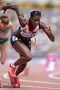 Mcc0041438 . Daily Telegraph..DT Sport..2012 Olympics..Team GB's Christine Ohuruogu qualifiying for the semi-finals of the women's 400m this morning as she made her debut in the Olympic Stadium built a matter of miles from where she was raised...3 August 2012...