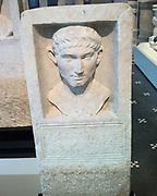 Marble funerary stele of Gaius Vibius Severus a Roman nobleman. Roman AD 69-80