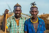 Dassanach tribe men, Omo Valley, Ethiopia.