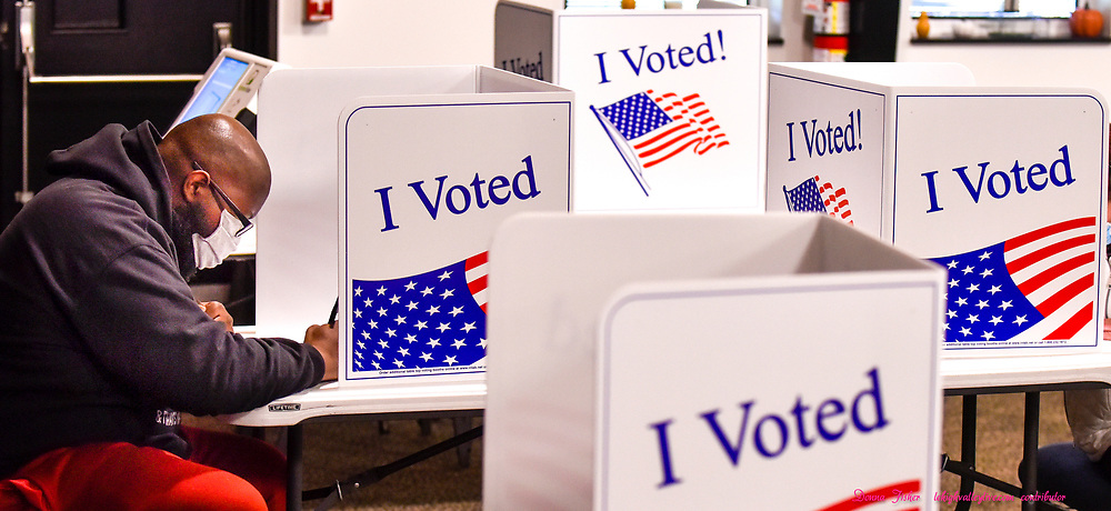 Voters cast their ballots in the 2020 general election at Trinity Wesleyan Church in Upper Macungie Township on November 3, 2020.