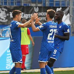 Torjubel des Torschützen Christoph Baumgartner, Jubel und Freude bei Andrej Kramaric und Ihlas Bebou (TSG 1899 Hoffenheim)<br /> <br /> Sport: Fussball: Bundesliga: Saison 19/20: TSG 1899 Hoffenheim-1.FC Union Berlin, 20.06.2020.<br /> <br /> Foto: RALF POLLER/AVANTI/POOL/PIX-Sportfotos<br /> <br /> Nur für journalistische Zwecke! Only for editorial use! <br /> Gemäß den Vorgaben der DFL Deutsche Fußball Liga ist es untersagt, in dem Stadion und/oder vom Spiel angefertigte Fotoaufnahmen in Form von Sequenzbildern und/oder videoähnlichen Fotostrecken zu verwerten bzw. verwerten zu lassen. DFL regulations prohibit any use of photographs as image sequences and/or quasi-video.