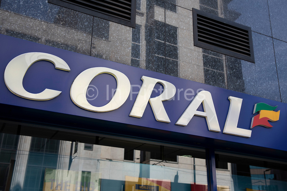 Sign for the gambling brand Coral in Birmingham, United Kingdom.