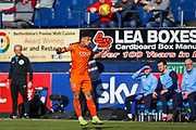Luton Town defender James Justin  heads the ball during the EFL Sky Bet League 1 match between Luton Town and Coventry City at Kenilworth Road, Luton, England on 24 February 2019.