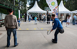 Sponsors during Davis Cup Slovenia vs. South Africa on September 13, 2013 in Tivoli park, Ljubljana, Slovenia. (Photo by Vid Ponikvar / Sportida.com)