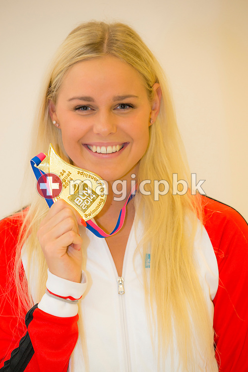 Pernille BLUME of Denmark poses with her gold medal after the LEN European Swimming Championships at Europa-Sportpark in Berlin, Germany, Sunday, Aug. 24, 2014. (Photo by Patrick B. Kraemer / MAGICPBK)