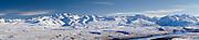 Panoramic view of Lake Alexandrina and the Gamack Range, viewed from Mount John, New Zealand.
