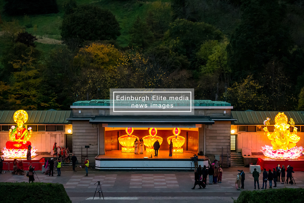 Ross Bandstand, Princes Street Garden, Edinburgh, Scotland, United Kingdom, 23 October 2019. Diwali Festival of Lights: Diwali Festival of Lights: Switch on of illuminations for Edinburgh Diwali with festive Indian dancers. The festival includes a number of events between October 23rd-26th. The festival culminates with a parade through the city on Saturday. <br /> Sally Anderson   EdinburghElitemedia.co.uk