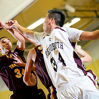 020714  Adron Gardner/Independent<br /> <br /> Tohatchi Cougar Marcus Burbank (34), left, fades from Rehoboth Lynx Chad Castillo (34) in Rehoboth Friday.