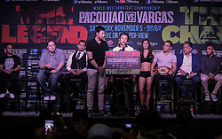 """September 27, 2016 - Los Angeles, California, U.S - Chinese boxer Zou Shiming speaks in a press conference on September 27, 2016 in Los Angeles. Three action-packed world championship fights (NONITO DONAIRE VS. JESSIE MAGDALENO îSCAR VALDEZ VS. HIROSHIGE OSAWA ZOU SHIMING VS. PRASITAK PAPOEM) will act as co-main events to the MANNY Ã'PacmanÃ"""" PACQUIAO Ð JESSIE VARGAS World Boxing Organization (WBO) welterweight world title fight, Saturday, November 5, at the Thomas & Mack Center on the campus of the University of Nevada, Las Vegas. (Credit Image: © Ringo Chiu via ZUMA Wire)"""