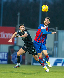 Falkirk's Reghan Tumility and Inverness Caledonian Thistle's Joe Chalmers. Falkirk 3 v 1 Inverness Caledonian Thistle, Scottish Championship game played 27/1/2018 at The Falkirk Stadium.