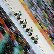Track Cycling - Olympics: Day 8  Georgia Baker #35, Annette Edmondson #36, Ashlee Ankudinoff #160 and Amy Cure #161 of Australia in action in the Women's Team Pursuit Finals during the track cycling competition at the Rio Olympic Velodrome August 12, 2016 in Rio de Janeiro, Brazil. (Photo by Tim Clayton/Corbis via Getty Images)
