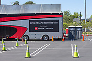 COVID-19 Rapid Response Unit testing site located at EXPO Green Lot next to Banc of California Stadium in the wake of the coronavirus COVID-19 pandemic, Wednesday, May 20, 2020. in Los Angeles, Calif. (Jevone Moore/Image of Sport)