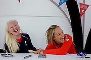 Partially-sighted skiing paralympian from the Sochi Olympics, Kelly Gallagher and her sighted guide Charlotte Evans at the National Paralympic Day, Stratford, London.<br /> <br /> From the chapter entitled 'The Law of Gravity' and from the book 'Risk Wise: Nine Everyday Adventures' by Polly Morland (Allianz, The School of Life, Profile Books, 2015).