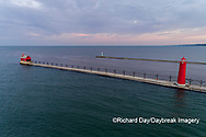 64795-03317 Aerial view of Grand Haven Lighthouse on Lake Michigan Grand Haven, MI
