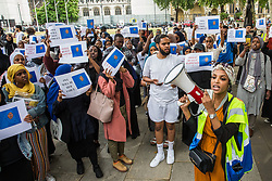London, UK. 17 July, 2019. Members of the Somali community, NUS Black Students and supporters assemble in Parliament Square after marching from the Department for Education to call for a full investigation into the death of Somali refugee girl Shukri Abdi, aged 12 from Bury, who died in the river Irwell on 27th June.