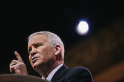 Oliver North, former United States Marine Corps Lieutenant Colonel, speaks during day two of the Conservative Political Action Conference (CPAC) at the Gaylord National Resort & Convention Center in National Harbor, Md.