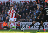 Stoke city's Geoff Cameron takes a shot at goal . Premier league match, Stoke City v Liverpool at the Bet365 Stadium in Stoke on Trent, Staffs on Saturday 8th April 2017.<br /> pic by Bradley Collyer, Andrew Orchard sports photography.