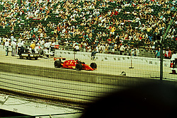 Indianapolis Time Trials, May 1987<br /> #5 Mario Andretti<br /> <br /> A scan from an old photo or slide from the collection of Alan and Becky Look dated 1987 and 1988.